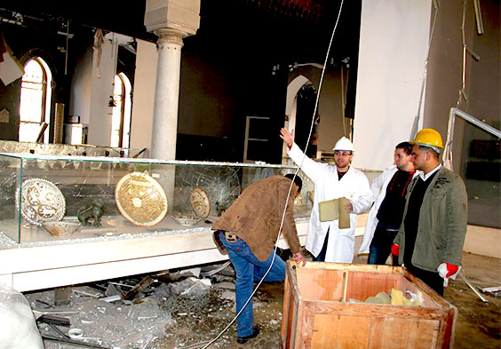 Egyptian Heritage Rescue Team responds after bomb-blast damaged Cairo's Museum of Islamic art, January 2014