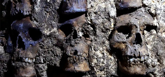 Tower of human skulls reveals grisly scale to archaeologists in Mexico City