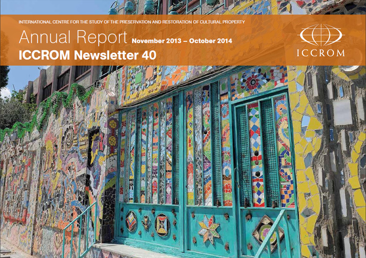 English cover of the 2014 edition of the ICCROM Newsletter/Annual Report