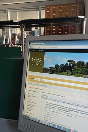 View of Library reading room and online catalogue